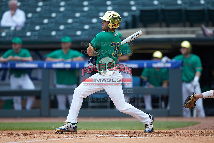 Jake Johnson (39) of the Notre Dame Fighting Irish follows through on his swing against the Florida State Seminoles in Game Four of the 2017 ACC Baseball Championship at Louisville Slugger Field on May 24, 2017 in Louisville, Kentucky. The Seminoles walked-off the Fighting Irish 5-3 in 12 innings. (Brian Westerholt/Four Seam Images)