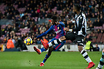 Ousmane Dembele (L) of FC Barcelona fights for the ball with Cheik Doukoure of Levante UD  during the La Liga 2017-18 match between FC Barcelona and Levante UD at Camp Nou on 07 January 2018 in Barcelona, Spain. Photo by Vicens Gimenez / Power Sport Images