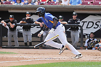 Wisconsin Timber Rattlers right fielder Demi Orimoloye (6) heads to first base during a game against the Quad Cities River Bandits at Fox Cities Stadium on June 27, 2017 in Appleton, Wisconsin.  Wisconsin lost 6-5.  (Dennis Hubbard/Four Seam Images)