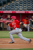 AZL Angels shortstop Stephen Kerr (16) bats during a game against the AZL Giants on July 9, 2017 at Diablo Stadium in Tempe, Arizona. AZL Giants defeated the AZL Angels 8-4. (Zachary Lucy/Four Seam Images)