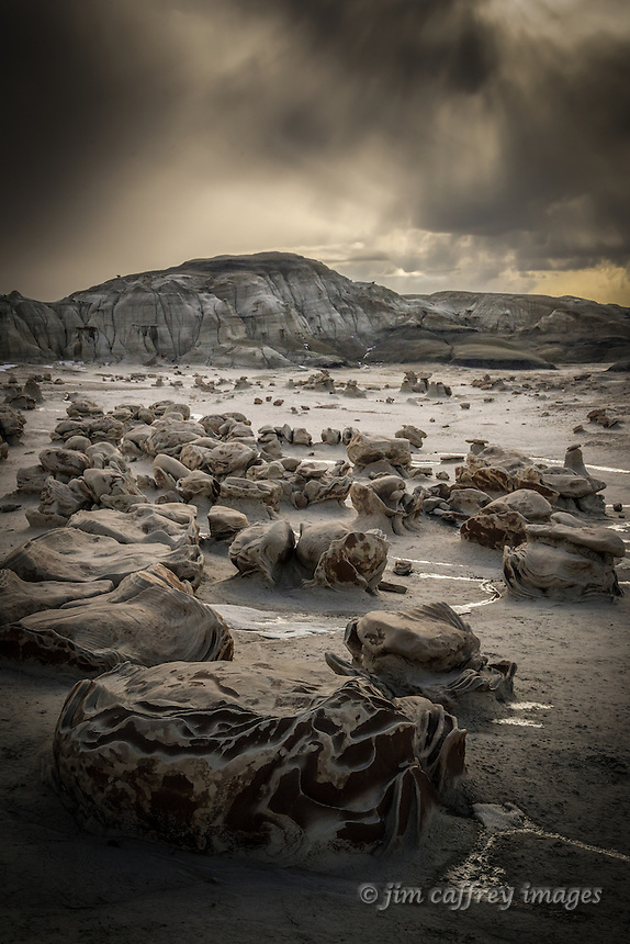 An evening storm passes over the Egg Garden in New Mexico's Bisti Wilderness
