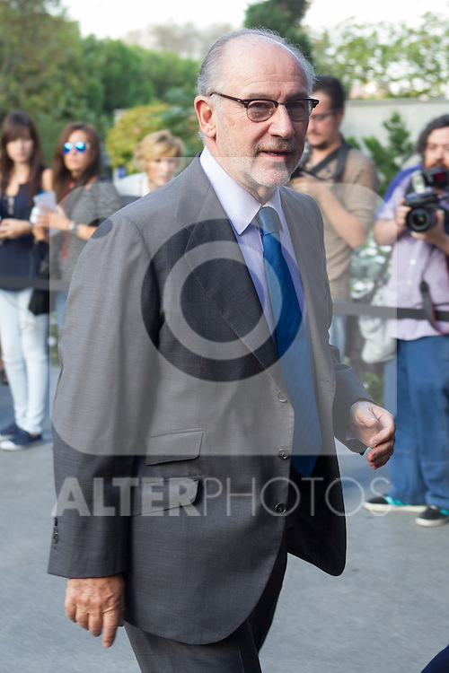 Rodrigo Rato visits San Isidro funeral home following the death of Miguel Boyer in Madrid, Spain. September 29, 2014. (ALTERPHOTOS/Victor Blanco)
