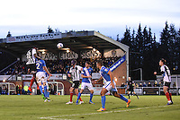 Aristote Nsiala of Grimsby Town heads at goal during the Vanarama National League match between Eastleigh and Grimsby Town at The Silverlake Stadium, Eastleigh, Hampshire on Nov 21, 2015. (Photo: Paul Paxford/PRiME)