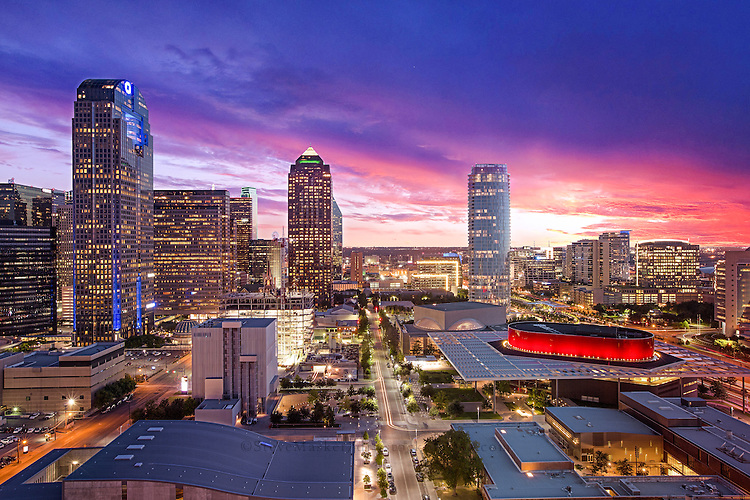 """""""Dallas Arts District at Sunset"""" - A mixture of radiant pink and purple colors shimmer through the clouds during sunset with the Dallas Arts District pictured in the foreground. The Arts District is a performing and visual arts district in Downtown Dallas, Texas. It is south of State Thomas, southeast of Uptown, north of the City Center District, west of Bryan Place and east of the West End Historic District. The District is 68 acres large and is home to some of Dallas' most significant cultural landmarks including facilities for visual, performing, and developing arts."""