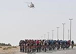The peloton during Stage 3 of the 2021 UAE Tour running 166km from Al Ain to Jebel Hafeet, Abu Dhabi, UAE. 23rd February 2021.  <br /> Picture: LaPresse/Fabio Ferrari | Cyclefile<br /> <br /> All photos usage must carry mandatory copyright credit (© Cyclefile | LaPresse/Fabio Ferrari)