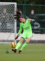 Goalkeeper Louise Van Den Bergh (1) of OHL  does the goal kick during a female soccer game between Oud Heverlee Leuven and AA Gent Ladies on the 9 th matchday of play off 1 in the 2020 - 2021 season of Belgian Womens Super League , saturday 22 nd of May 2021  in Heverlee , Belgium . PHOTO SPORTPIX.BE   SPP   SEVIL OKTEM