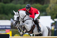 3rd October 2021;  Real Club de Polo, Barcelona, Spain; CSIO5 Longines FEI Jumping Nations Cup Final 2021; Gregory Wathelet from Belgium during the FEI Jumping Nations Cup Final 2021