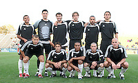 Houston's starters. Front row (from left): Alejandro Moreno, Brian Mullan, Ricardo Clark, Wade Barrett, Craig Waibel. Back row (from left): Ronald Cerritos, Pat Onstad, Eddie Robinson, Kevin Goldthwaite, Dwayne De Rosario, Kelly Gray. The Major League Soccer Houston Dynamo defeated the United Soccer League Division 1 Charleston Battery 1-0 in a preseason game at Blackbaud Stadium on Daniel Island in Charleston, SC, as part of the Carolina Challenge Cup on Saturday, March 18, 2006.