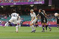 Anita ASANTE of Great Britain heads against the post - Great Britain Women vs New Zealand Women - Womens Olympic Football Tournament London 2012 Group E at the Millenium Stadium, Cardiff, Wales - 25/07/12 - MANDATORY CREDIT: Gavin Ellis/SHEKICKS/TGSPHOTO - Self billing applies where appropriate - 0845 094 6026 - contact@tgsphoto.co.uk - NO UNPAID USE.