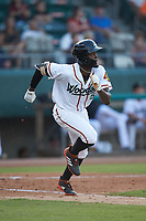 Eric Jenkins (5) of the Down East Wood Ducks hustles down the first base line against the Winston-Salem Dash at Grainger Stadium Field on May 17, 2019 in Kinston, North Carolina. The Dash defeated the Wood Ducks 8-2. (Brian Westerholt/Four Seam Images)
