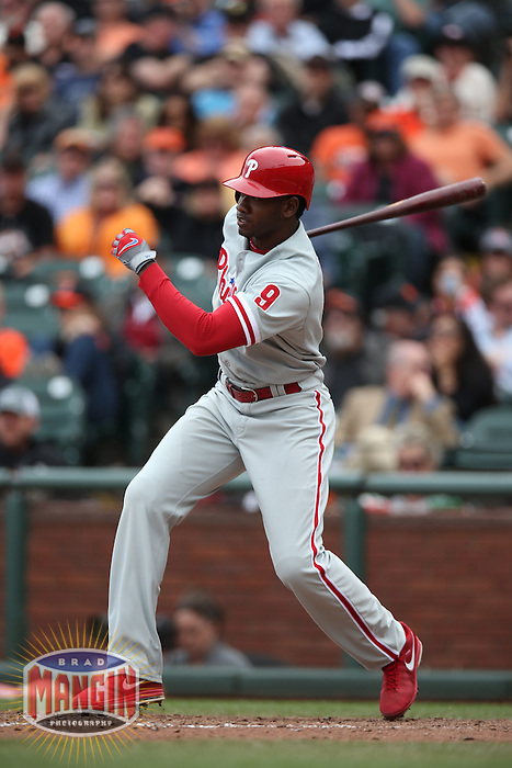 SAN FRANCISCO, CA - MAY 8:  Domonic Brown #9 of the Philadelphia Phillies bats against the San Francisco Giants during the game at AT&T Park on Wednesday, May 8, 2013 in San Francisco, California. Photo by Brad Mangin