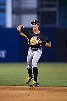 Bradenton Marauders shortstop Cole Tucker (3) throws to first base during a game against the Tampa Yankees on April 15, 2017 at George M. Steinbrenner Field in Tampa, Florida.  Tampa defeated Bradenton 3-2.  (Mike Janes/Four Seam Images)