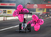 Sep 4, 2020; Clermont, Indiana, United States; NHRA top alcohol dragster driver Jackie Fricke during qualifying for the US Nationals at Lucas Oil Raceway. Mandatory Credit: Mark J. Rebilas-USA TODAY Sports