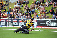 Amelia Kerr is beaten for a four during the Dream11 Super Smash T20 women's cricket final between Wellington Blaze and Canterbury Magicians at the Basin Reserve in Wellington, New Zealand on Saturday, 13 February 2021. Photo: Dave Lintott / lintottphoto.co.nz
