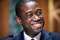 Economist Adewale O. Adeyemo testifies before the Senate Finance Committee during his confirmation hearing to be Deputy Secretary of the Treasury in the Dirksen Senate Office Building in Washington, DC, USA, 23 February 2021.<br /> Credit: Jim LoScalzo / Pool via CNP /MediaPunch