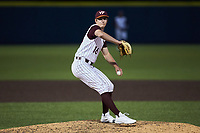 Virginia Tech Hokies relief pitcher Matthew Siverling (16) in action against the Georgia Tech Yellow Jackets at English Field on April 16, 2021 in Blacksburg, Virginia. (Brian Westerholt/Four Seam Images)