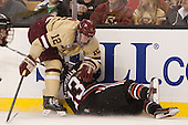 Kevin Hayes (BC - 12), Colton Saucerman (NU - 23) - The Boston College Eagles defeated the Northeastern University Huskies 6-3 for their fourth consecutive Beanpot championship on Monday, February 11, 2013, at TD Garden in Boston, Massachusetts.