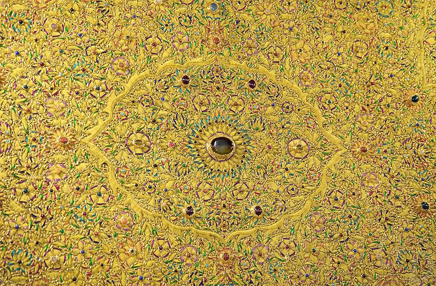 Detailed handycraft using Gemstones in a Carpet weaving