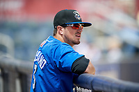 Biloxi Shuckers Blake Allemand (3) in the dugout during a game against the Jackson Generals on April 23, 2017 at MGM Park in Biloxi, Mississippi.  Biloxi defeated Jackson 3-2.  (Mike Janes/Four Seam Images)