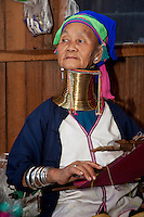 Myanmar, Burma.  Padaung Woman with Brass Neck Coils, Inle Lake, Shan State.  The Padaung are also called Kayan Lahwi.