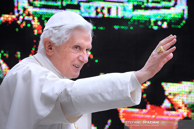 Pope Benedict XVI waves as he leaves his weekly general audience on June 9, 2010 at St Peter's square at The Vatican.