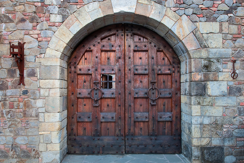 Castle door at Castello di Amorosa. Napa Valley, California. Property relased