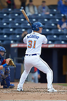 Joe McCarthy (31) of the Durham Bulls at bat against the Buffalo Bison at Durham Bulls Athletic Park on April 25, 2018 in Allentown, Pennsylvania.  The Bison defeated the Bulls 5-2.  (Brian Westerholt/Four Seam Images)