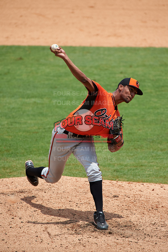 Pitcher Garrett Gooden (27) of St. Pius X Catholic High School in Decatur, Georgia playing for the Baltimore Orioles scout team during the East Coast Pro Showcase on July 30, 2015 at George M. Steinbrenner Field in Tampa, Florida.  (Mike Janes/Four Seam Images)