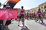 Race leader Maglia Rosa Filippo Ganna (ITA) Ineos Grenadiers lines up for the start of Stage 2 of the 103rd edition of the Giro d'Italia 2020 running 149km from Alcamo to Agrigento, Sicily, Italy. 4th October 2020.  <br /> Picture: LaPresse/Gian Mattia D'Alberto | Cyclefile<br /> <br /> All photos usage must carry mandatory copyright credit (© Cyclefile | LaPresse/Gian Mattia D'Alberto)