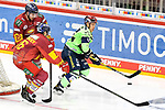 Eishockey DEL 37. Spieltag: Düsseldorfer EG vs <br /> ERC Ingolstadt am 07.04.2021 im ISS Dome in Düsseldorf<br /> <br /> Düsseldorfs Tobias Eder (Nr.20) und Düsseldorfs Matthew Carey (Nr.19) gegen Ingolstadts Petrus Palmu (Nr.52)<br /> <br /> Foto © PIX-Sportfotos *** Foto ist honorarpflichtig! *** Auf Anfrage in hoeherer Qualitaet/Aufloesung. Belegexemplar erbeten. Veroeffentlichung ausschliesslich fuer journalistisch-publizistische Zwecke. For editorial use only.