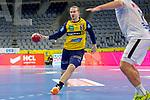 Lukas Nilsson (Rhein Neckar Löwen Nr.65) im Angriff - beim Bundesligaspiel: Rhein Neckar Loewen gegen SC DHfK Handball Leipzig am 15.10.2020 in der SAP-Arena in Mannheim<br /> <br /> Foto © PIX-Sportfotos *** Foto ist honorarpflichtig! *** Auf Anfrage in hoeherer Qualitaet/Aufloesung. Belegexemplar erbeten. Veroeffentlichung ausschliesslich fuer journalistisch-publizistische Zwecke. For editorial use only.