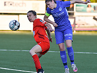 Sien Vandersanden (10) of KRC Genk heads the ball away from Selina Gijsbrechts (11) of Woluwe during a female soccer game between  Racing Genk Ladies and White Star Woluwe on the 8 th matchday of play off 2 in the 2020 - 2021 season of Belgian Scooore Womens Super League , tuesday 18 th of May 2021  in Genk , Belgium . PHOTO SPORTPIX.BE | SPP | JILL DELSAUX
