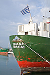 A Greek ship is tied to the dock in the Nafplio Harbour.