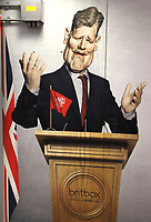 Caricature of Labour Leader Kier Starmer on large advertisement board for satirical television puppet show Spitting Image inside Westminster Tube Station. London September 30th 2020<br /> <br /> Photo by Keith Mayhew