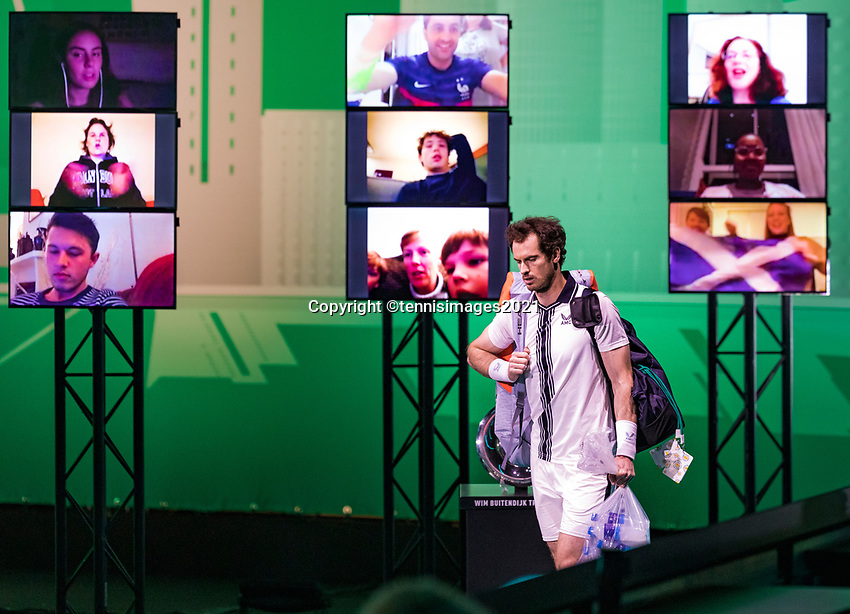 Rotterdam, The Netherlands, 3 march  2021, ABNAMRO World Tennis Tournament, Ahoy, Second round match: Andy Murray (GBR).<br /> Photo: www.tennisimages.com/
