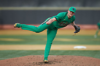 Notre Dame Fighting Irish starting pitcher Cameron Junker (32) follows through on his delivery against the Wake Forest Demon Deacons at David F. Couch Ballpark on March 10, 2019 in  Winston-Salem, North Carolina. The Fighting Irish defeated the Demon Deacons 8-7 in 10 innings in game two of a double-header. (Brian Westerholt/Four Seam Images)