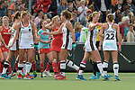 NED - Amsterdam, Netherlands, August 20: During the women Pool B group match between Germany (white) and England (red) at the Rabo EuroHockey Championships 2017 August 20, 2017 at Wagener Stadium in Amsterdam, Netherlands. Final score 1-0. (Photo by Dirk Markgraf / www.265-images.com) *** Local caption *** (L-R) Hanna Granitzki #30 of Germany, Janne Mueller-Wieland #14 of Germany, Franzisca Hauke #21 of Germany, Cecile Pieper #22 of Germany