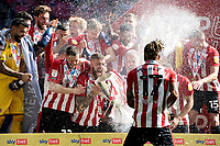 Ivan Toney of Brentford celebrates at full time during the Sky Bet Championship Play Off Final match between Brentford and Swansea City at Wembley Stadium in London, England, UK. Saturday 29 May 2021