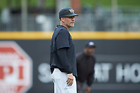 Wake Forest Demon Deacons head coach Tom Walter (16) coaches third base during the game against the Furman Paladins at BB&T BallPark on March 2, 2019 in Charlotte, North Carolina. The Demon Deacons defeated the Paladins 13-7. (Brian Westerholt/Four Seam Images)