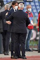 Simone Inzaghi coach of SS Lazio and Claudio Ranieri of UC Sampdoria greet each other during the Serie A football match between SS Lazio and UC Sampdoria at Olimpico Stadium in Roma (Italy), February 20th, 2021. Photo Antonietta Baldassarre / Insidefoto