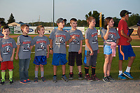 Batavia Muckdogs youth baseball clinic participants on the field for recognition before a game against the Mahoning Valley Scrappers on August 30, 2017 at Dwyer Stadium in Batavia, New York.  Batavia defeated Mahoning Valley 5-1.  (Mike Janes/Four Seam Images)