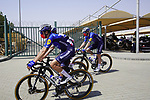 Deceuninck-Quick Step riders head to sign on before the start of Stage 3 of the 2021 UAE Tour running 166km from Al Ain to Jebel Hafeet, Abu Dhabi, UAE. 23rd February 2021.  <br /> Picture: Eoin Clarke | Cyclefile<br /> <br /> All photos usage must carry mandatory copyright credit (© Cyclefile | Eoin Clarke)
