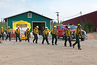 Firefighters head out to fight the Eagle Trail forest fire near Tok, Alaska, May, 2010.