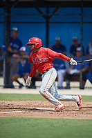 Philadelphia Phillies Nicolas Torres (19) at bat during an Instructional League game against the Toronto Blue Jays on September 27, 2019 at Englebert Complex in Dunedin, Florida.  (Mike Janes/Four Seam Images)