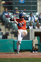 AlexSteinbach (34) of the Illinois Fighting Illini at bat against the West Virginia Mountaineers at TicketReturn.com Field at Pelicans Ballpark on February 23, 2020 in Myrtle Beach, South Carolina. The Fighting Illini defeated the Mountaineers 2-1.  (Brian Westerholt/Four Seam Images)