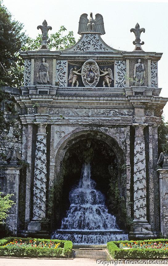 Tivoli: Villa D'Este--Fontana Della Civita (much restored). Designed by Giovanni Del Luca, 16th century. Pnoto '83.