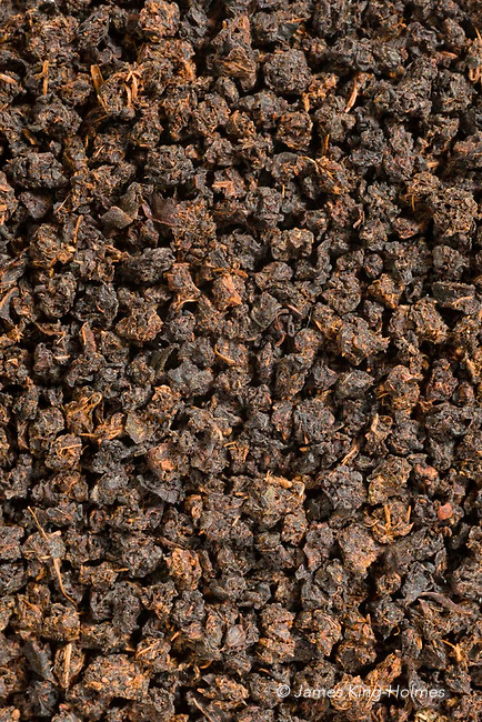 Close-up of a blended loose tea of ordinary quality. The image covers an area of 30mm x 20mm.