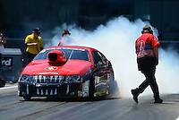 Apr. 13, 2012; Concord, NC, USA: NHRA pro stock driver V. Gaines during qualifying for the Four Wide Nationals at zMax Dragway. Mandatory Credit: Mark J. Rebilas-