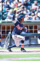 Gwinnett Braves second baseman Ozzie Albies (1) swings at a pitch during a game against the Charlotte Knights at BB&T Ballpark on May 7, 2017 in Charlotte, North Carolina. The Knights defeated the Braves 7-1. (Tony Farlow/Four Seam Images)