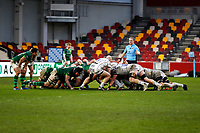 6th February 2021; Brentford Community Stadium, London, England; Gallagher Premiership Rugby, London Irish versus Gloucester; London Irish and Gloucester players during the scrum